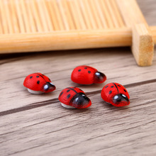 100pcs/Bag Wooden Ladybug Sponge Self-adhesive Stickers Children Painted Adhesive Back DIY Craft Home Party Holiday Decoration(China)