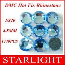 FREE SHIPPING,DMC hot fix rhinestone,Lt. Sapphire Color SS20,China post air mail free,1440pcs/lot star15(China)