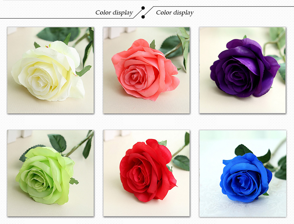 1pc Silk Roses Artificial Flowers Wedding Decoration Fake Flowers White Blue Green Pink Red Purple Artificial Silk Flowers Roses 123_03