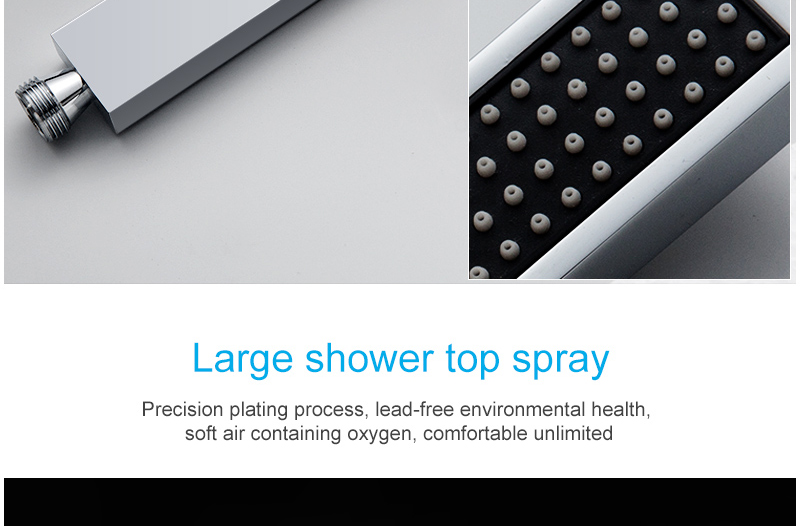 Ceiling Mount Square Fixed Rainfall Shower Head with 3 Way Thermostat Bathroom Shower Faucet Chrome Handheld Shower System (24)