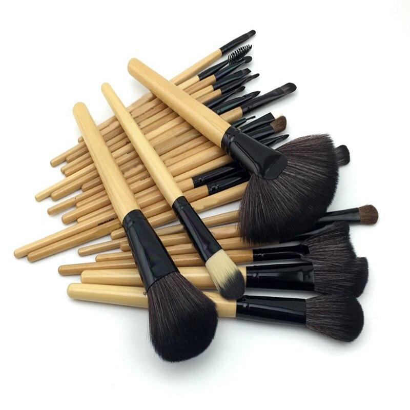 24 Pcs Professional  Makeup Brush Set Tools Make-up Toiletry Kit Wool Brand Make Up Brush Set Case <br>