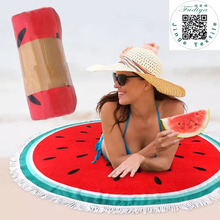 New Microfiber FDY Round Beach Towel 150cm Bath Towels with Tassel Printed Summer Women Sandy swimming Sunbath Blanket covers(China)