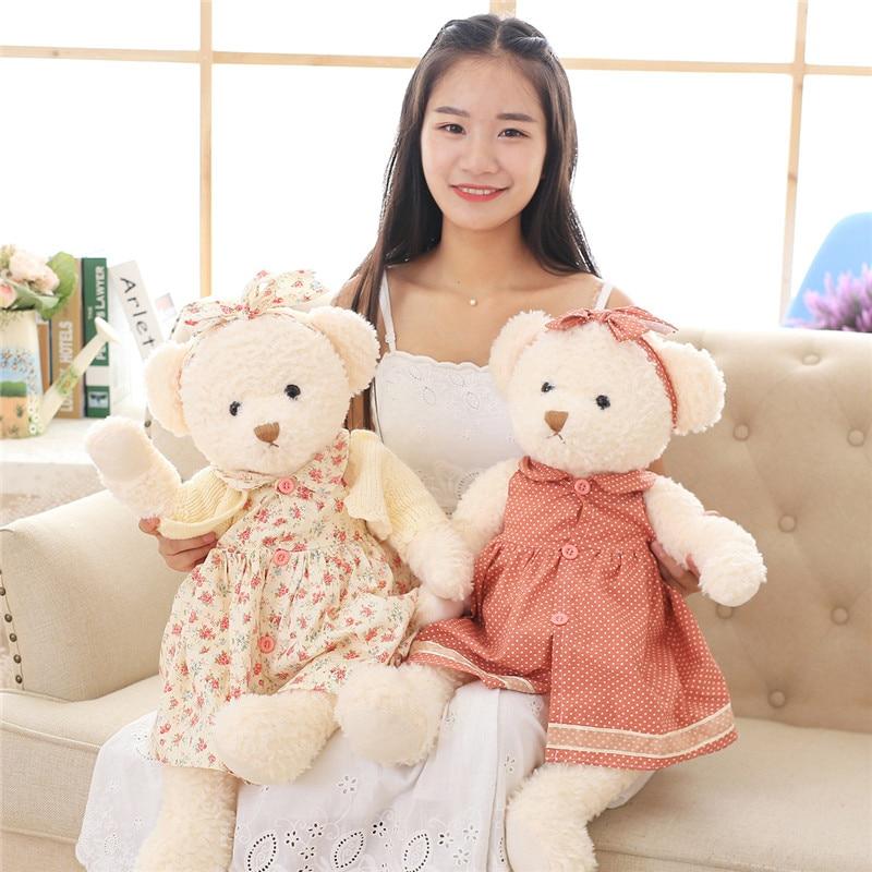 Lovely Teddy Bear in Floral Skirt Plush Toys Soft Girl Bears Peluche Stuffed Dolls Gift for Kids Friends Lovers 65cm <br><br>Aliexpress