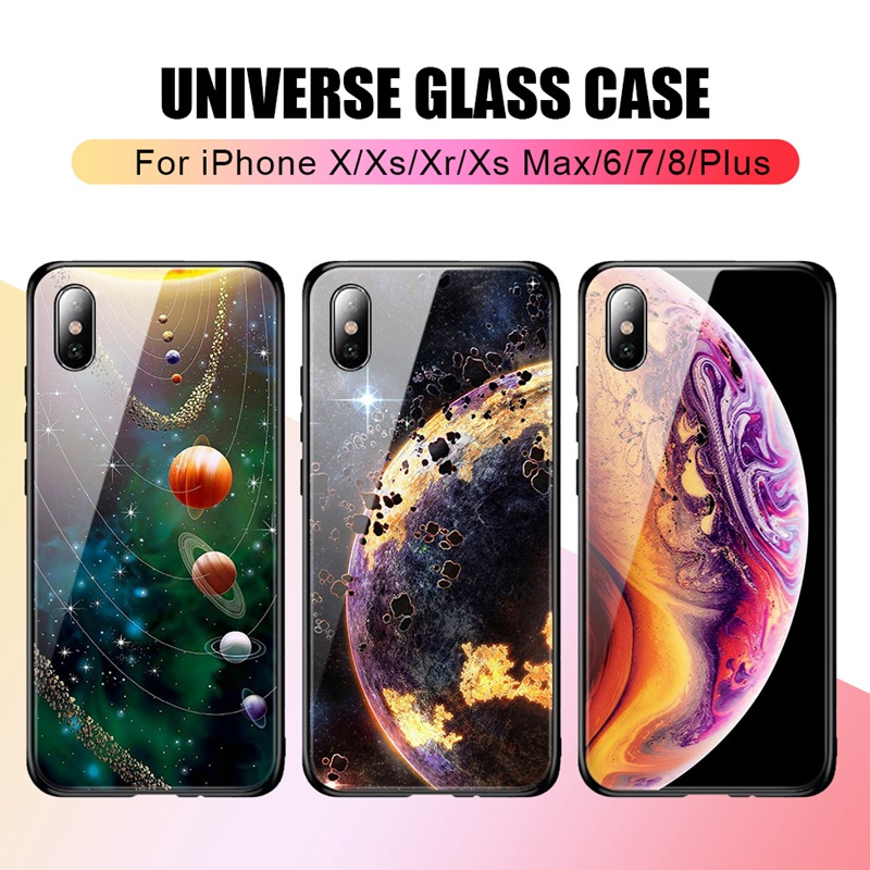TOMKAS Luxury Space Cover Case for iPhone X Xs Max Xr Xs Glass Silicone Phone Case for iPhone 7 8 Plus Cases for iPhone 6 S 6s (2)