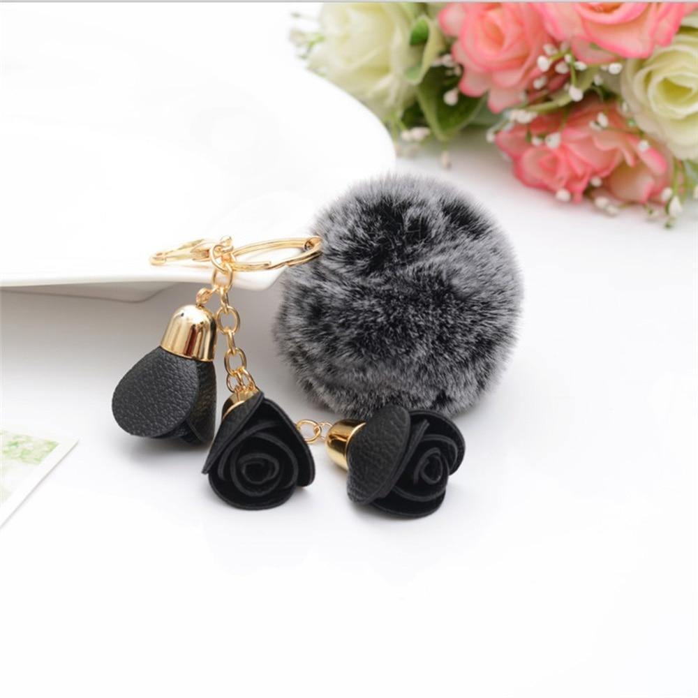 3 Camellia Flowers Snow Ball Key Chain Fluffy Artificial Fur Pompom Ball Keychain Women Car Bag Key Ring Fashion Jewelry