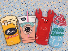 NEW 3D Cartoon Lobster Milk Shake Beer Glass Ice Cream Case Silicon Back Cover For iPhone 5 5S 5C & SE & 6 6S Plus & 7 7Plus
