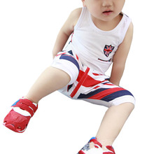 2017 New summer Baby boys clothes set, short T-shirt+ pants red flag suits chidlren clothing sets