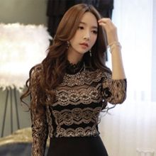 2016 New Summer Sexy Ladies Elegant Black Lace Long Sleeve Blousa Vintage Shirt Hollow Out Knitted Tops Plus Size S-XXL(China)