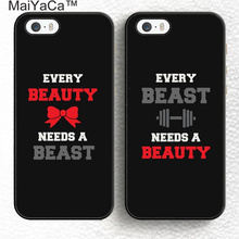 MaiYaCa Every Beauty Need A Beast Lover Pair Couples Soft Rubber Mobile Phone Cases For iPhone 6 6S Plus 7 7 Plus 5 5S SE Cover