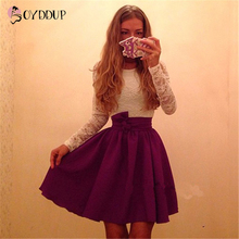 2017 women fashion Cute lace Patchwork dress O-Neck long sleeved belt Slim Mini Vestidos Plus size 2 Colors Free Shopping