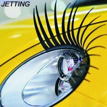 JETTING 2pcs 3D Charming Black False Eyelashes Fake Eye Lash Sticker Car Headlight Decoration Funny Decal For Beetle