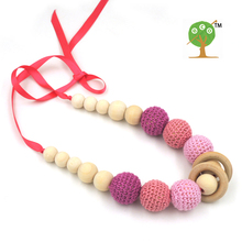 1pc sale 2017 PEACH pink  MELON RED crochet teething necklace,wood beads baby toy baby teether necklace EN24