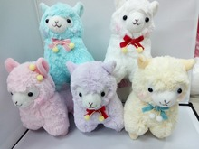 Amuse Cute 17cm Small Japan Peluche Alpaca Stuffed Toy Wearing Bowknot 5 Styles Stuffed Sheep Llama Kids Toy Doll Birthday Gift(China)