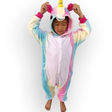 Children Animal Rainbow Cosplay Unicorn Pajama Winter Flannel Pyjamas Women Hooded Onesie For Kids Halloween Costume Pijama(China)