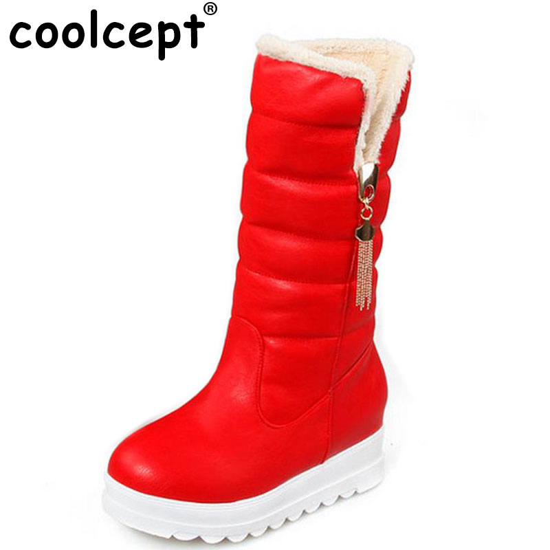 Coolcept Snow Boots Platform Women Winter Shoes Waterproof Mid Calf Boots Half Short Fur Boots Thickened Fur Botas Size 33-43<br>
