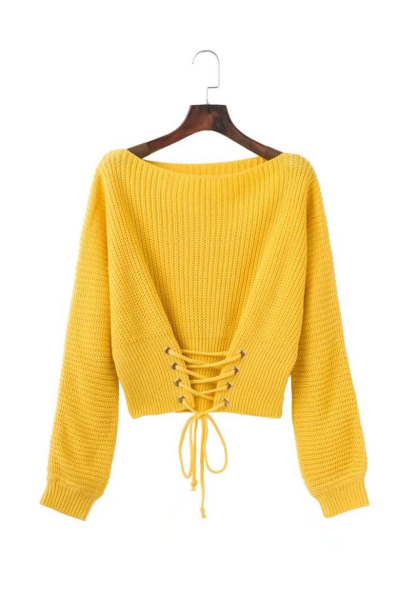 Autumn Lace Up Sweater, Women's Knitted Solid Jumper, Adjust Waist Bandage Sweater 15