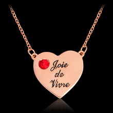 Joie De Vivre Red Rhinestones Crystal Rose Gold Heart shaped Pendant Necklace For Women Girl Fashion Life DIY Jewelry Gift