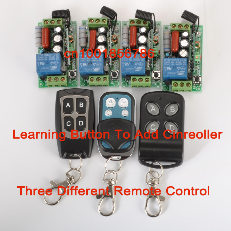 CCTV 220V 1CH Wireless Power Switch System 4 Receiver&amp; 3Transmitter Remote Controller 315MHZ/433MZH<br>