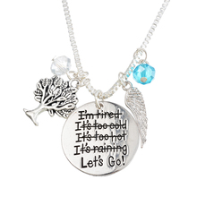 "Original Design FUNIQUE ""Lets Go"" Letering Engraved Necklaces & Pendants Life Tree Angle Wings Crystal Necklaces Women Jewelry"
