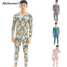 2017 Winter Thermal Underwear Sets For Men Blue Printed Thermo Elastic Long Johns Green Knitted Warm Sexy Brand Men's Pants Suit(China)