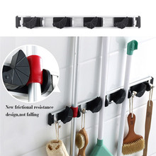 Wall Mount Mop Broom Holder Organizer Garage Storage Solutions Mounted 4 Position 5 Hooks For Shelving