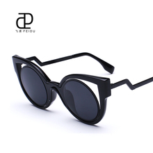 FEIDU Newest Cat Eye Sunglasses Women Brand Designer Fashion UV Round Lens Sun Glasses For Men Oculos De Sol Feminino With Box(China)