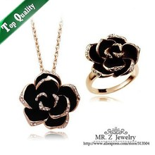 Top Quality Fashion 2016 New Designer Flower Ring Necklace Enamel Black Jewelry Sets Free Shipping