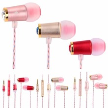 3 Colors New 3.5mm Wired Stereo Headset In-Ear Diamond Earphone Headphone for Mobile Phones