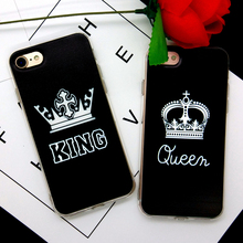 Valentine KING Queen Loves Case For Apple iphone 5 5S SE 6 6S 6Plus 6SPlus 7 7Plus Cover TPU Silicone Dust plug Phone Bag