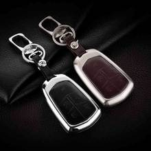 Leather Car Key Cover Case Shell Holder Bag For Cadillac Escalade Esv New Skin 6 Buttons Keyless Entry Remote Protector Cover
