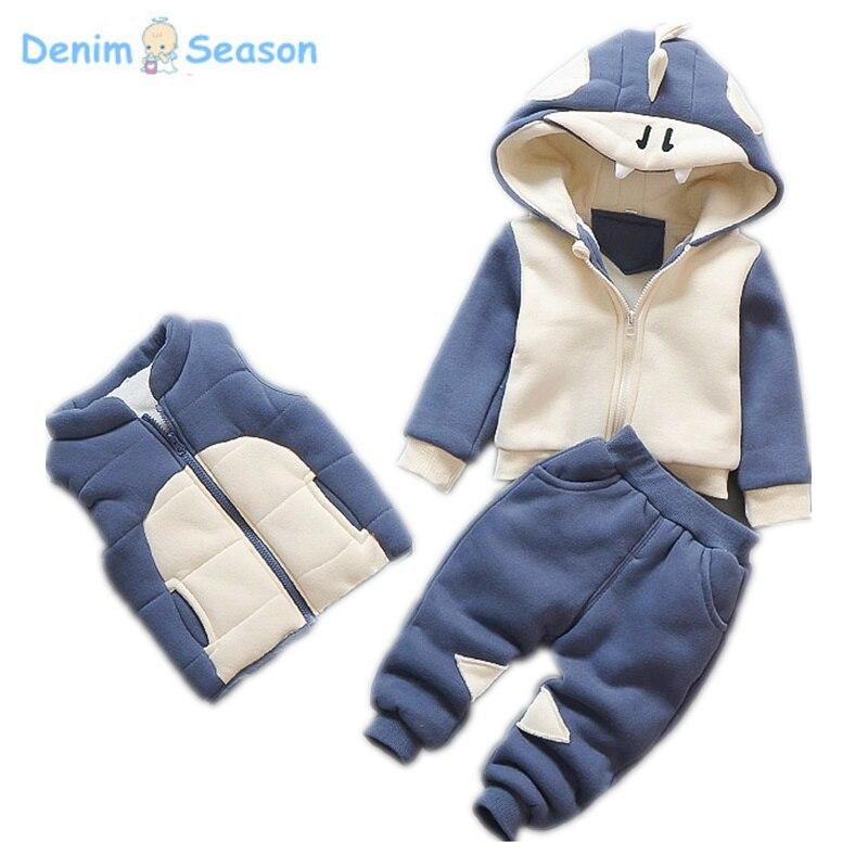 Denim Season Winter Boy Sweatshirts Cashmere Thicken Warm Korean Cute Carton Kid Hoodies Causal Sport Children Clothes Set 3pcs<br>