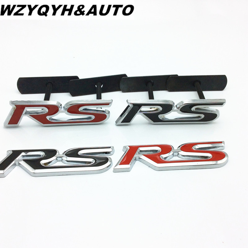 3D Metal RS Grille Emblem Sticker Badge Car Styling For Ford Focus Chevrolet cruze Kia Rio Skoda Octavia Mazda VW Hyundai Opel(China)