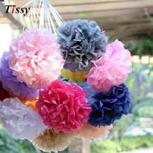 "20pcs 4"" (10cm)Tissue Paper Pom Poms Wedding Decorative Props Flower Kissing Pompom Balls for Wedding party home Decoration(China)"