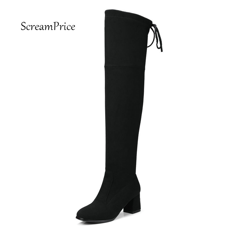 Women Faux Suede Comfortable Square Heel Thigh Boots Fashion Round Tor Cross Tied Winter Shoes Plus Size 34-43<br>