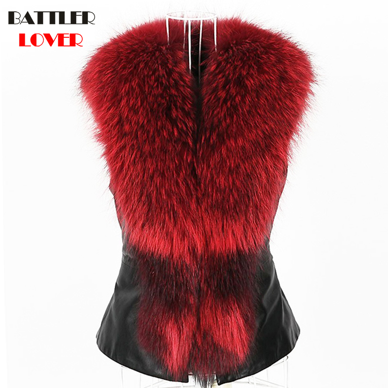 Luxury Fox Fur Vest Winter Sleeveless Jackets Women Raccoon Fur Vests Jacket Womens Vest Mujer Femme Damen Pelzmantel Fall Weste