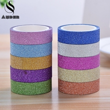 2017 Scrub Glitter Washi Sticky Roll DIY Decor Scrapbooking Sticker Masking Paper Decoration Tape Adhesive School Supplies JD6C