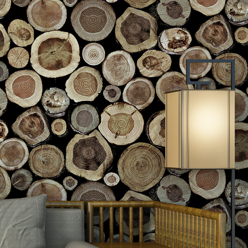 beibehang Wooden Stakes Wood Stump Log Wood Wallpaper Tea House Cafe Background Industrial Wind Wallpaper papel de parede<br>