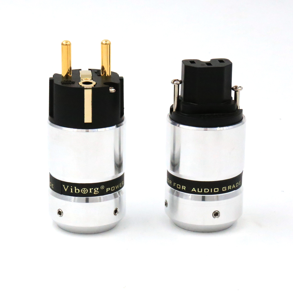 Free shipping ONE pair Viborg 24K Gold Plated EUR Schuko EU Power Plug &amp; IEC Connector plug for Hifi Electrical Plug<br><br>Aliexpress