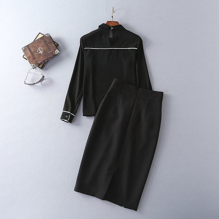 Two Pieces Set New Skirt Suits 17 Autumn Winter Women Turn-down Collar Black Blouses+Mid-Calf Length Pencil Skirts Clothing 3