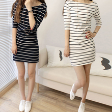 New Summer Plus Size Striped O-Neck Above Knee Half Sleeve Sheath Casual Slim Elegant Mini Dresses