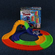 2017 new Magic Tracks Bend Flex Glow in the Dark Assembly Toy 165/220pcs Race Track + 1pc LED Car