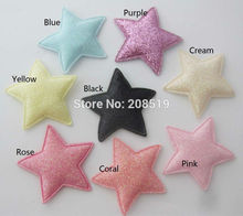 PANNGW Mix 80pcs Glitter Felt Fabric Appliques about 45mm Star Patches DIY Decorative Patch for hair jewelry(China)