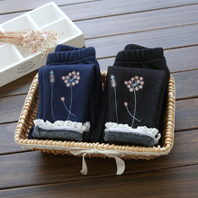 baby girls winter pants kids fleece thick flower printed lace leggings casual toddler black dark blue trousers children clothes(China)