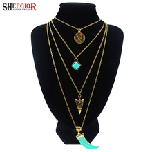 SHEEGIOR Boho Gold/Silver Multilayer Chains Long Necklace Women Sexy Turquoises Pendants Chokers Necklaces Fashion Jewelry Gifts