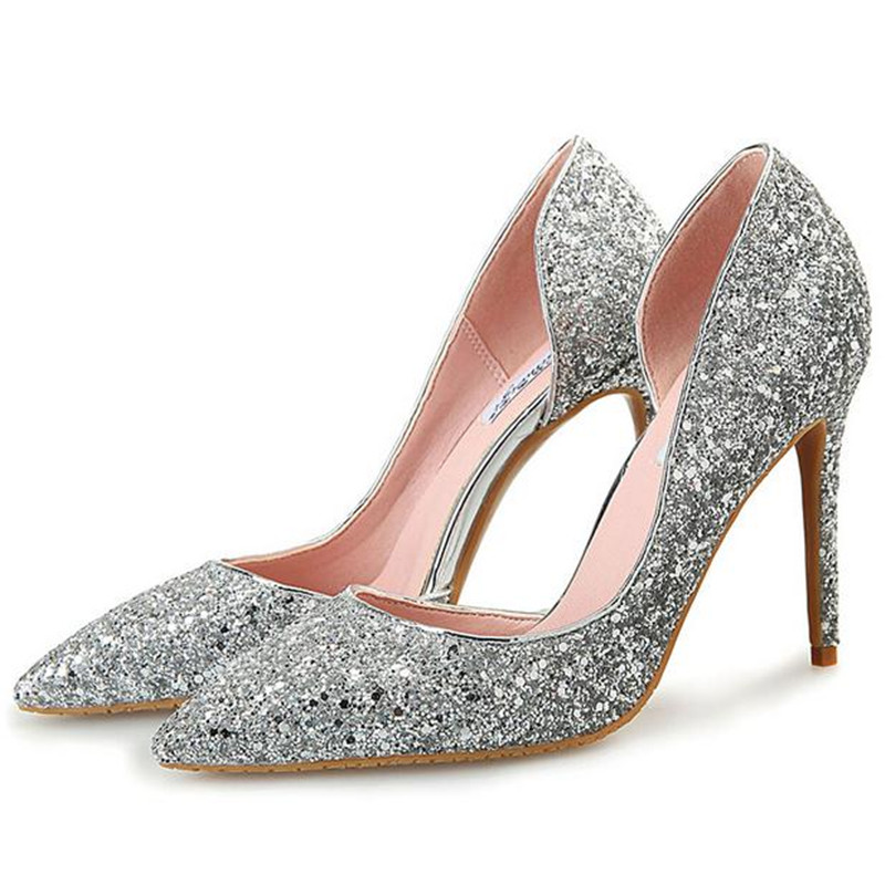 fashion sexy Gold, silver Sequins wedding high heels fine with pointed head Large size women shoes Heels pumps skor obuv Scarpe <br><br>Aliexpress