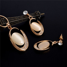 2017 New Fashion Natural Cat Eye Stone Chain & Pendants Necklace Earring Wedding Fine Jewelry For Women