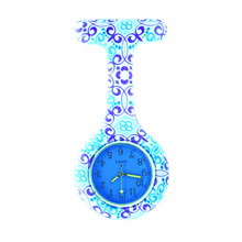 100pcs/lot free shipping colored face fashion prints round nurse watch Colourful Professional Useful Medical Watch(China)