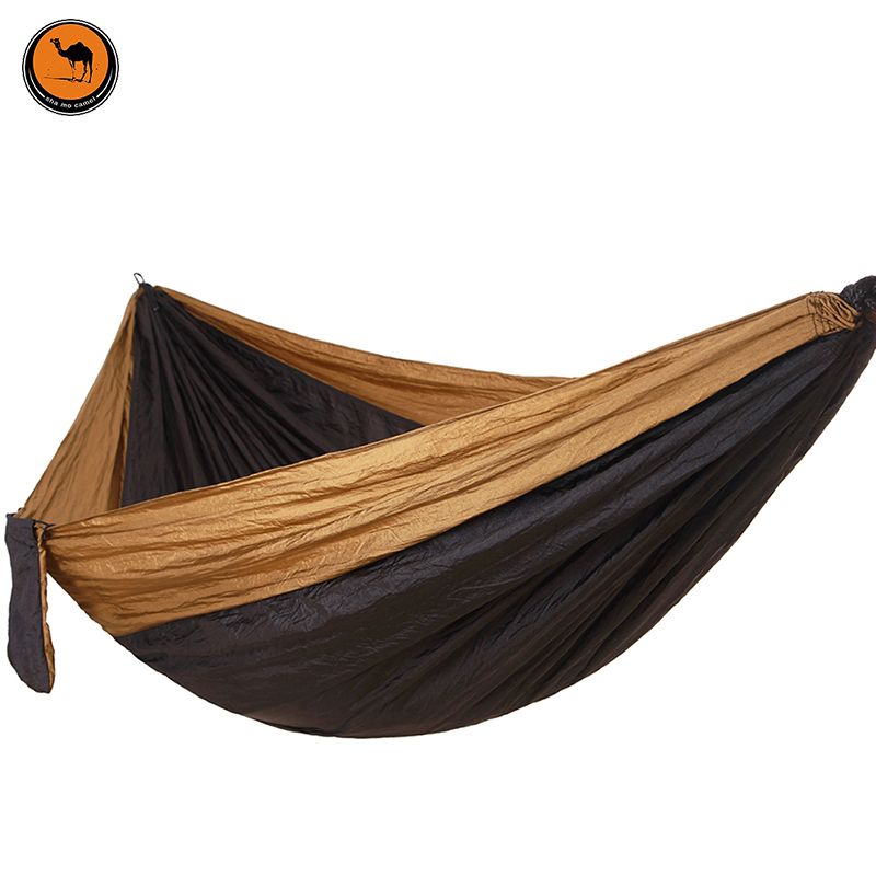 Hammock With Hammock Tree RopePortable Parachute Garden Beach Travel Canvas Nylon Fabric Camping (Camel+Black)<br>