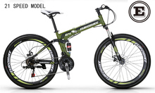 EUROBIKE 26 inch folding mountain bike folding bicycle disc brake 21 speed 160-185 rider steel frame foldable bicycle