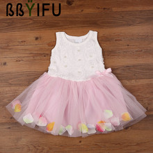 BBYIFU Summer Birthday Flower Girl Bubble Dresses Hot Red Baby Party Dress for Wedding 0-2 Years Lace Ruched Mini Princess Dress(China)